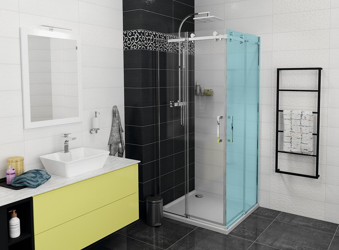 DRAGON sprchové posuvné dveře rohový vstup 900 mm, čiré sklo