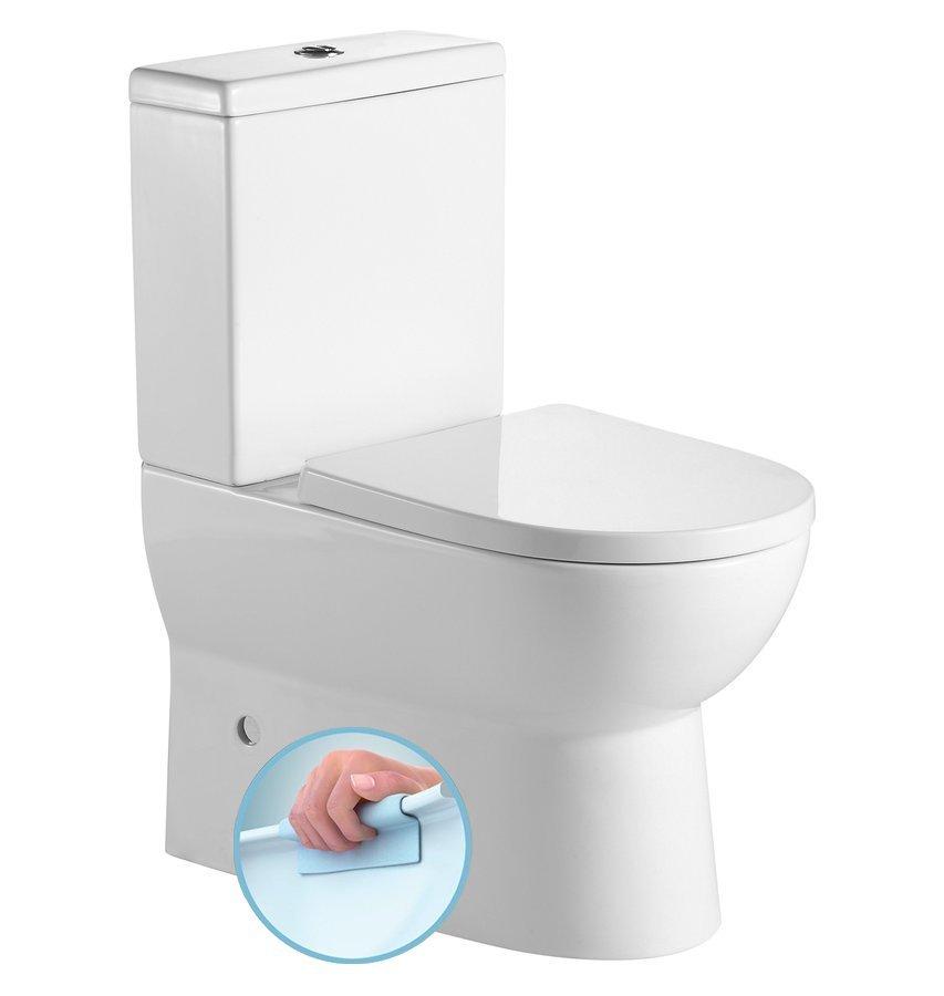 JALTA WC kombi, Rimless, spodní/zadní odpad + sedátko, bílá