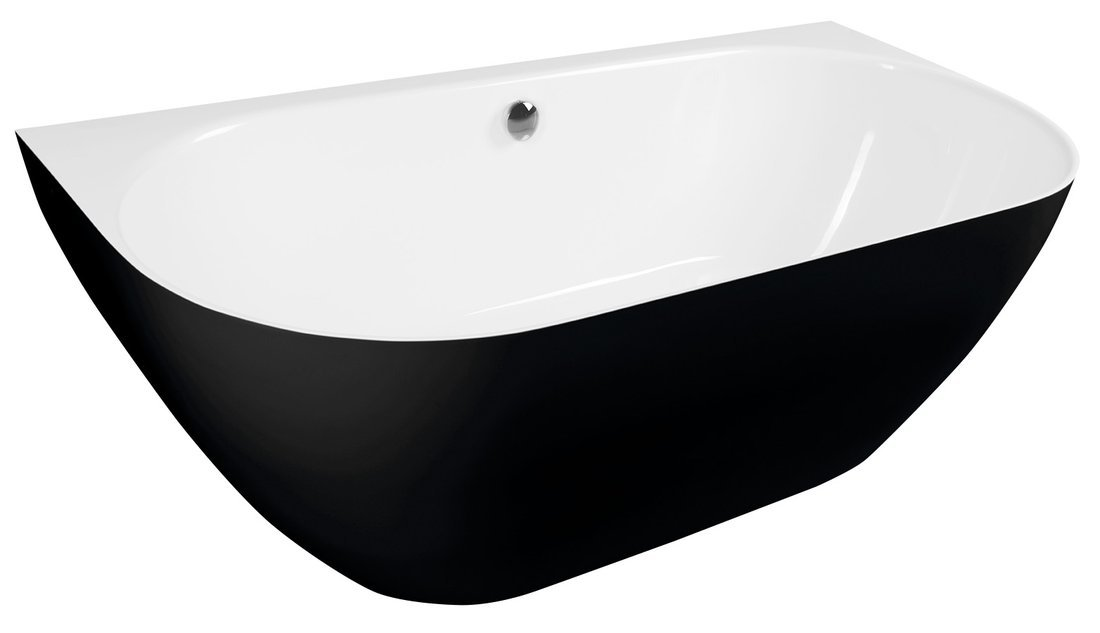 PAGODA vana litý mramor 170x85x58cm, černá/bílá