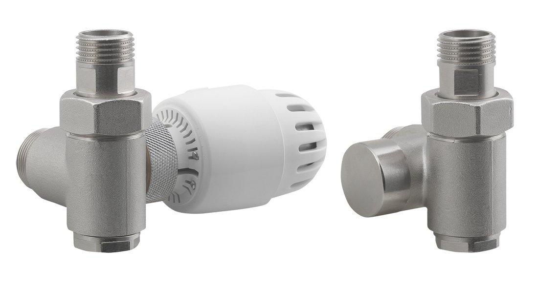 ECO COMBI připojovací sada ventilů, termostatická LEVÁ, nikl/bílá