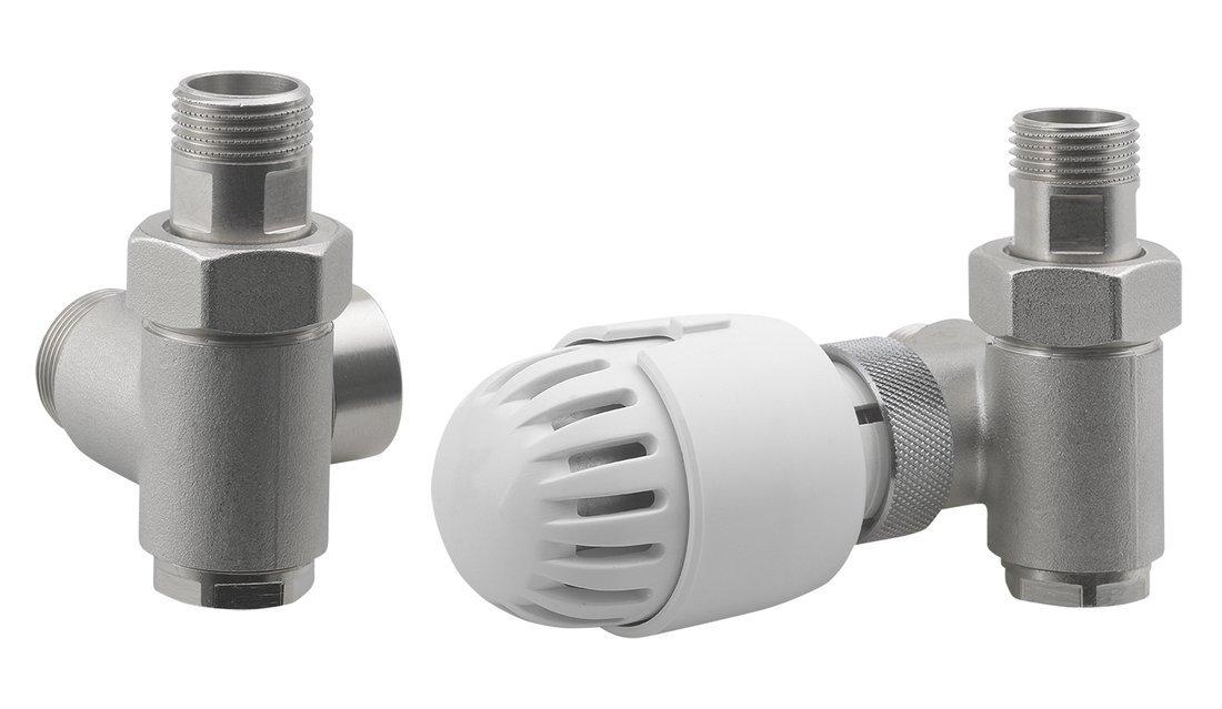 ECO COMBI připojovací sada ventilů, termostatická PRAVÁ, nikl/bílá