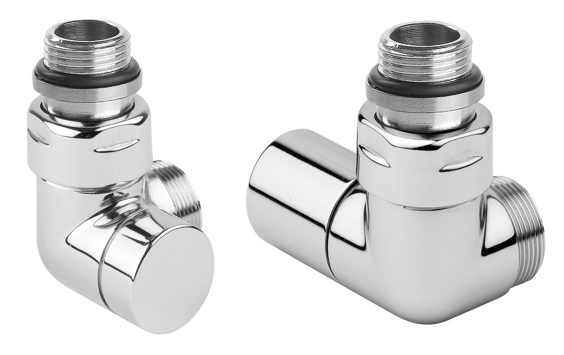 CORNER SIMPLY připojovací sada ventilů triaxiální, PRAVÉ provedení, chrom