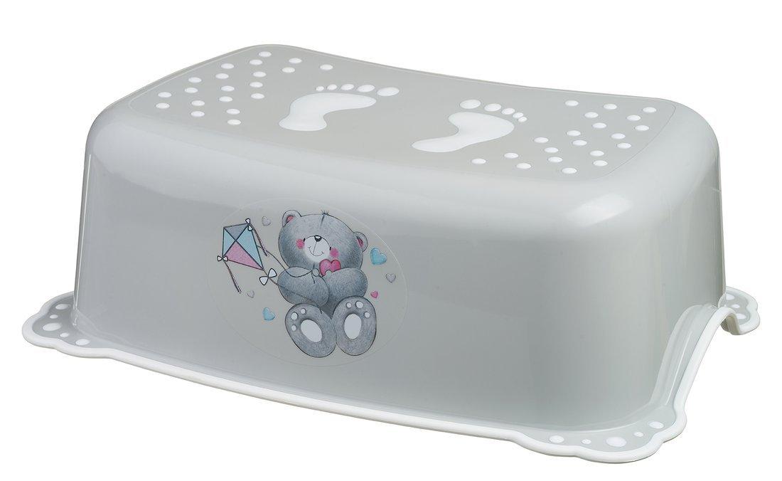 Dětské protiskluzové stupátko do koupelny Medvídek, šedá