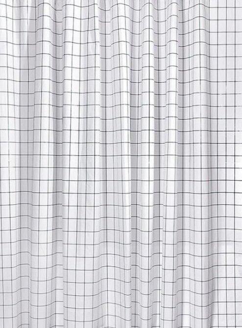 Sprchový závěs 180x180cm, vinyl, černá/bílá čtvercový vzor