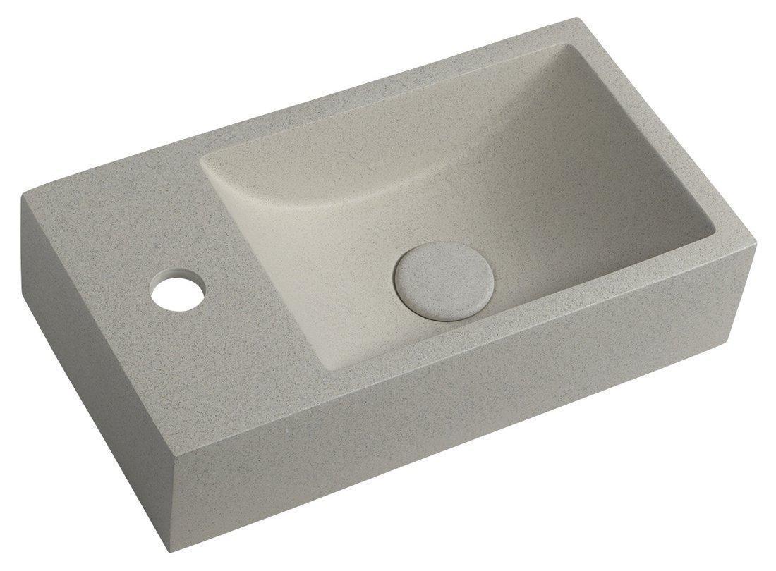CREST L betonové umyvadlo včetně výpusti, 40x22 cm, bílý pískovec