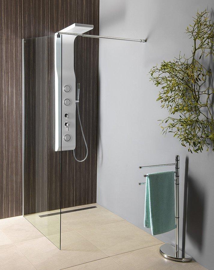 WALK-IN zástěna jednodílná k instalaci na zeď, 800x1900 mm, sklo čiré