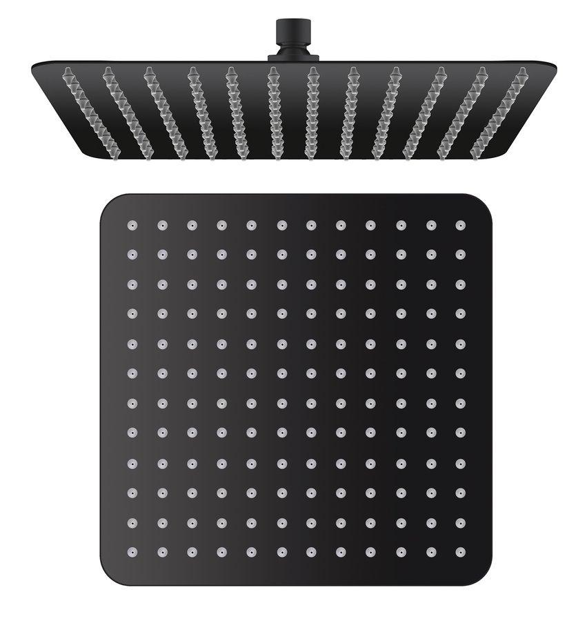 Hlavová sprcha, 300x300x60mm, černá mat/nerez
