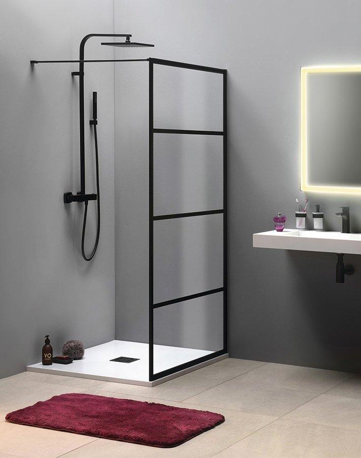 CURE BLACK sprchová zástěna 900mm, černá mat