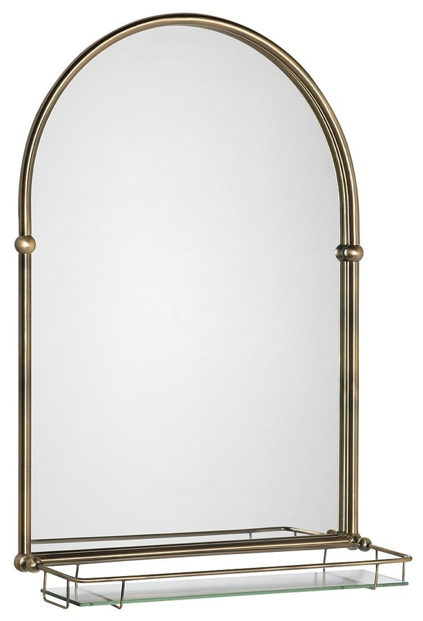 TIGA zrcadlo 48x67cm, skleněná polička, bronz
