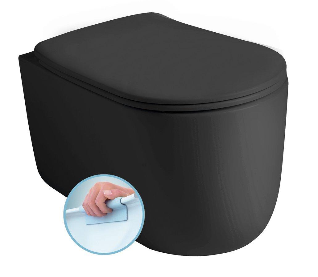 NOLITA závěsná WC mísa, Rimless, 35x55 cm, černá mat