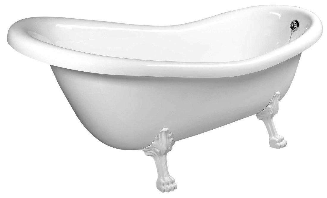 RETRO volně stojící vana 158x73x72cm, nohy bílé, bílá