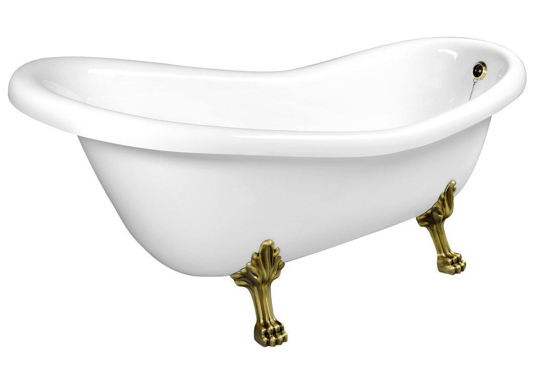 RETRO volně stojící vana 158x73x72cm, nohy bronz, bílá