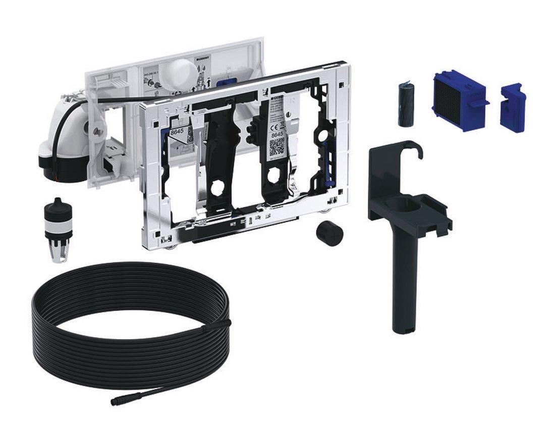 GEBERIT DUOFRESH jednotka odsávání zápachu s ručním spouštěním a dávkovačem, pro Sigma 12 cm, chrom lesk