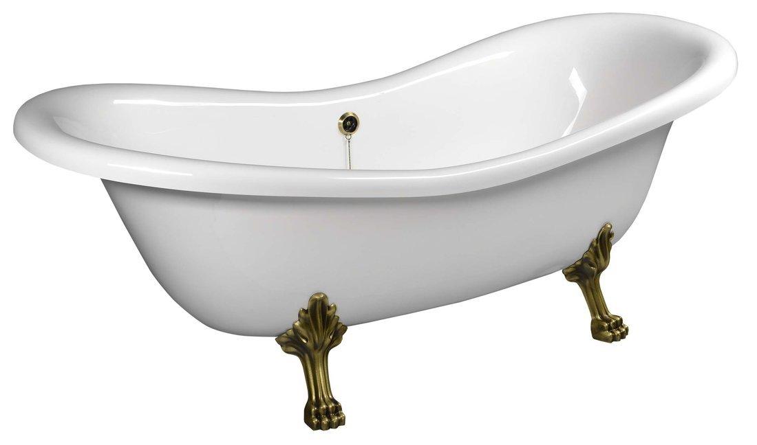 CHARLESTON volně stojící vana 188x80x71cm, nohy bronz, bílá