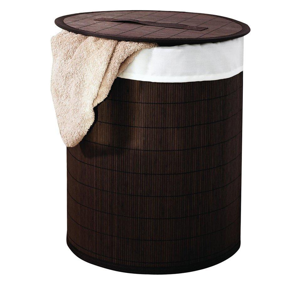 BEACH koš na prádlo, bambus, tmavě hnědá