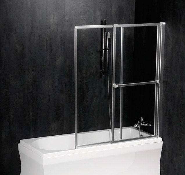 OLBIA pneumatická vanová zástěna 1230 mm, stříbrný rám, čiré sklo