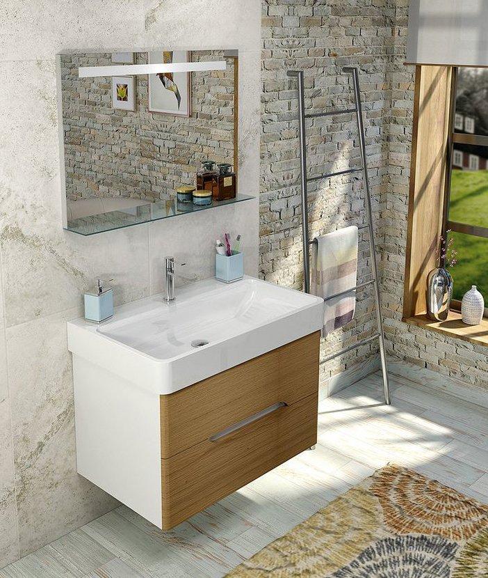Koupelnový set MEDIENA 77, bílá mat/dub natural