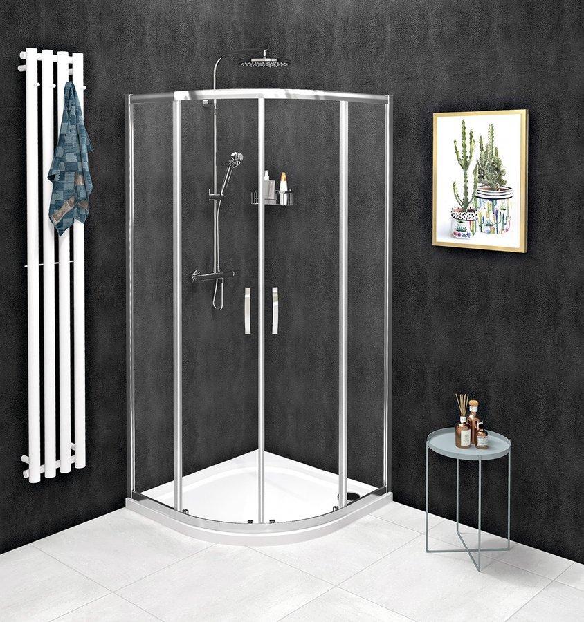 SIGMA SIMPLY čtvrtkruhová sprchová zástěna 900x900 mm, R550, čiré sklo