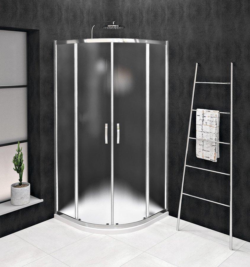 SIGMA SIMPLY čtvrtkruhová sprchová zástěna 800x800 mm, R550, sklo Brick