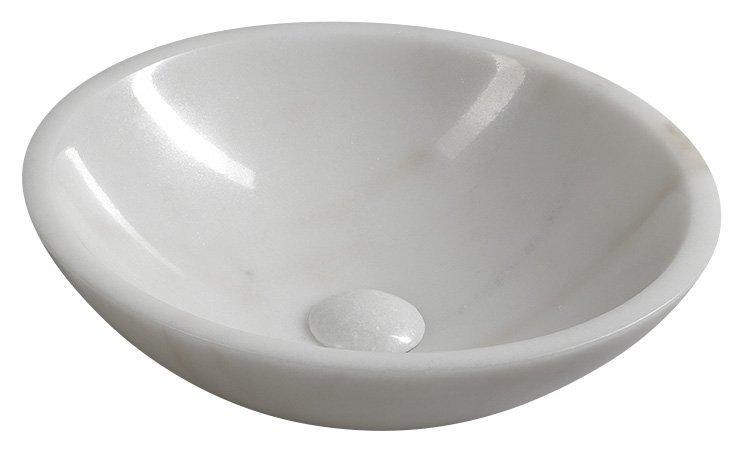 BLOK kamenné umyvadlo průměr 40 cm, leštěný bílý mramor