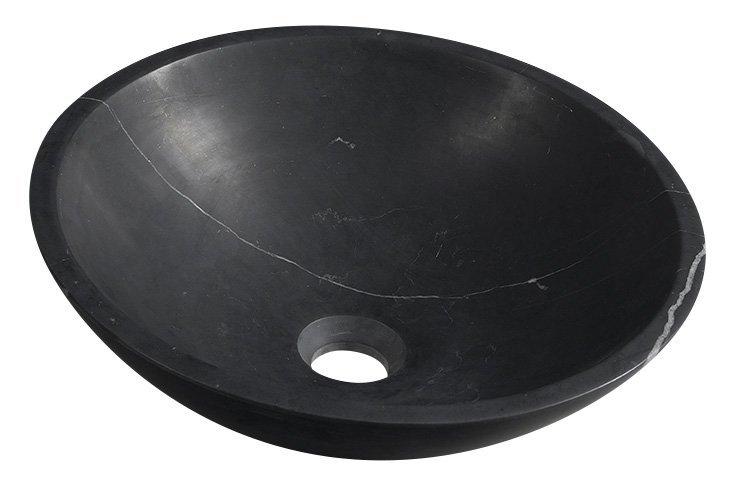 BLOK kamenné umyvadlo průměr 40 cm, černý Marquin, matný