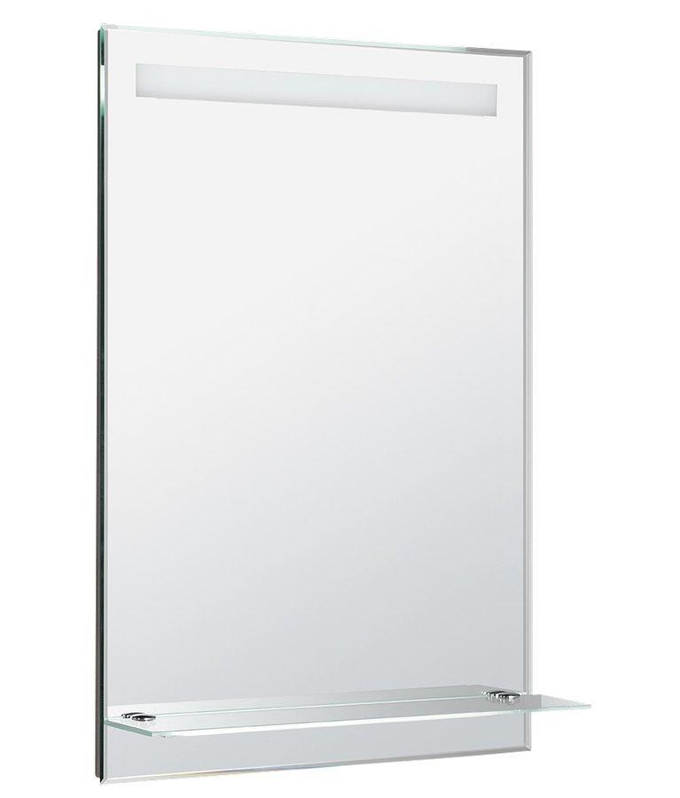 LED podsvícené zrcadlo 60x80cm, skleněná polička, kolíbkový vypínač