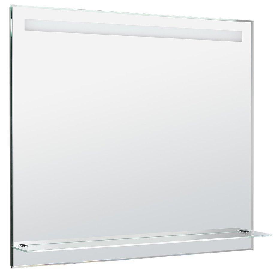 LED podsvícené zrcadlo 100x80cm, skleněná polička, kolíbkový vypínač