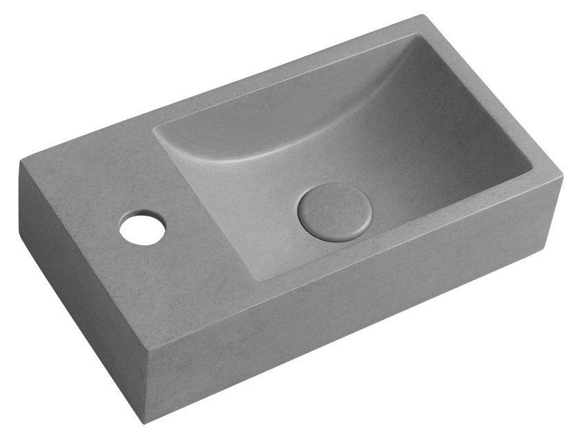 CREST L betonové umyvadlo včetně výpusti, 40x22 cm, šedá žíhaná