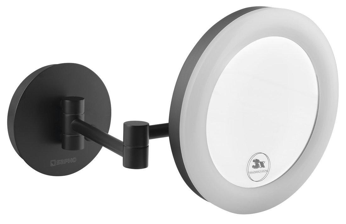 Kosmetické zrcátko s LED osvětlením, kulaté, černá mat
