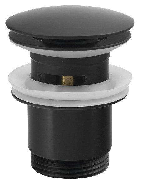 """Umyvadlová výpust 5/4"""", click-clack, velká zátka, tl.30-50mm, černá"""