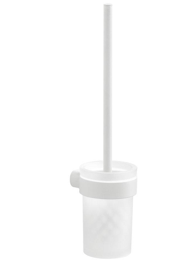 PIRENEI WC štětka závěsná, bílá mat/mléčné sklo
