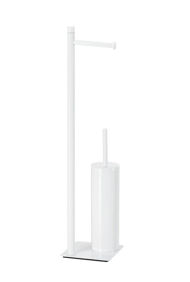 TRILLY stojan s držákem na toaletní papír a WC štětkou, hranatý, bílá matná
