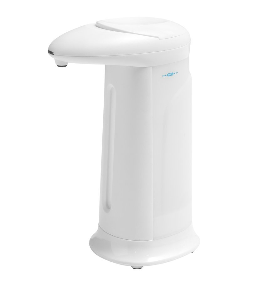 Bezdotykový dávkovač mýdla na postavení, 350 ml, 83x196x135mm, ABS/bílá