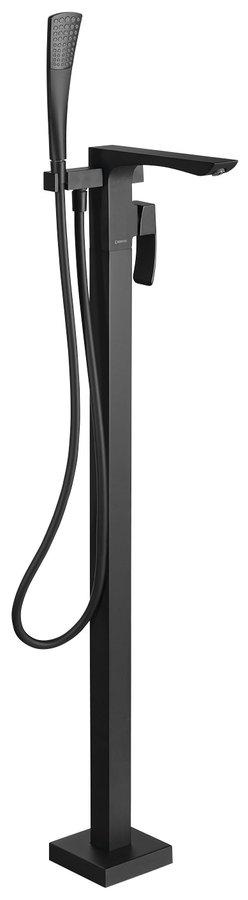 GINKO vanová baterie s připojením do podlahy, černá mat