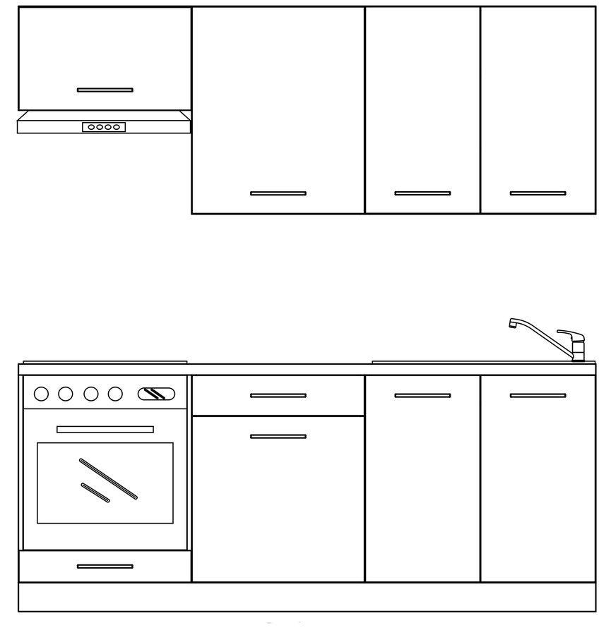 TERNO kuchyňská sestava 200 cm, dub emporio