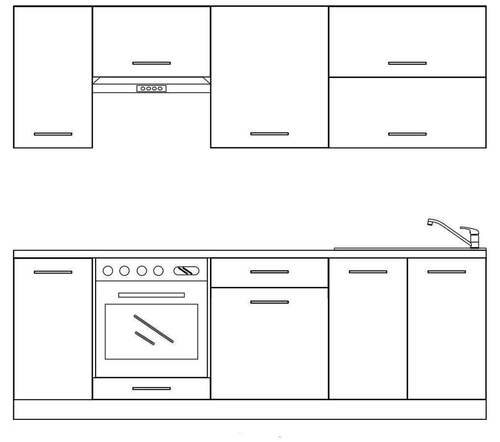 TERNO kuchyňská sestava 240 cm, bílá lesk