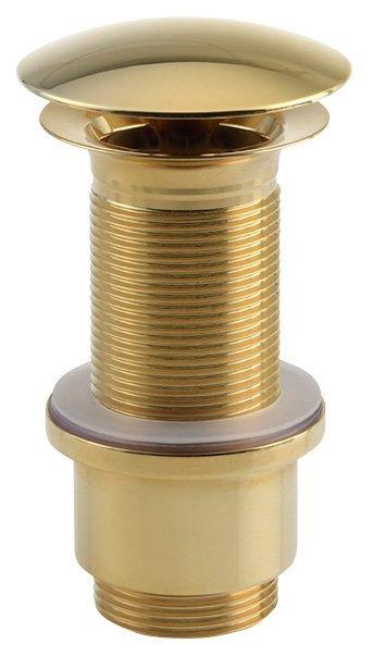 """Umyvadlová výpust 5/4"""", neuzavíratelná, velká krytka, tl.65-85mm, zlato"""
