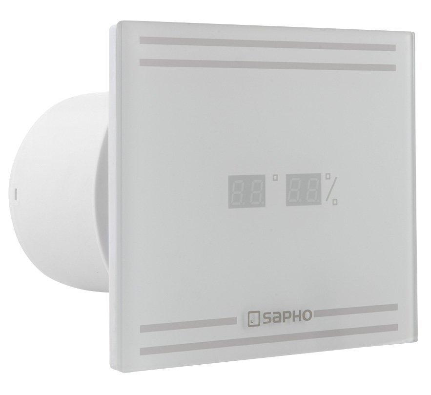 GLASS koupelnový ventilátor axiální s LED displejem, 8W, potrubí 100mm, bílá