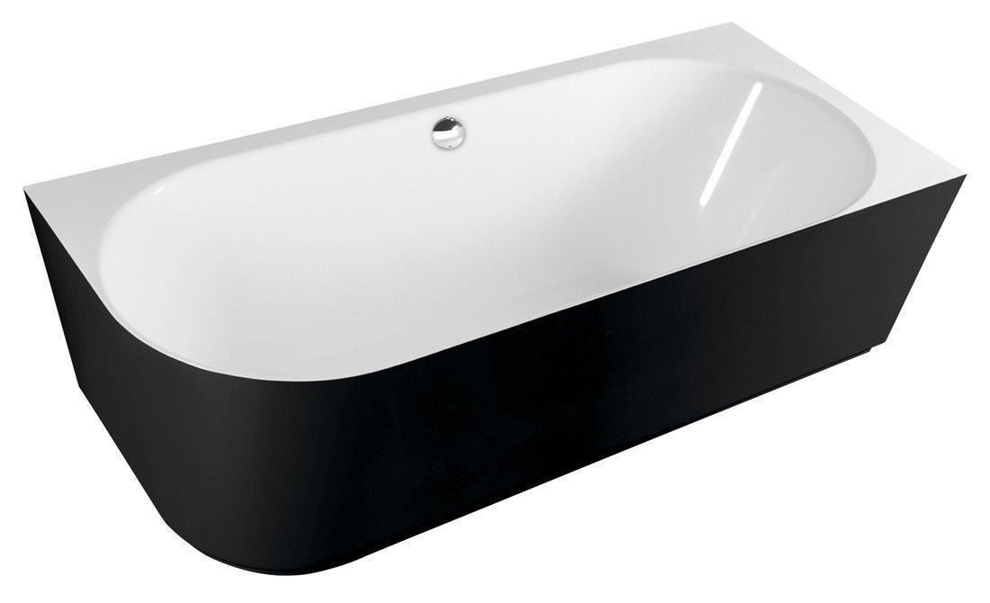 SUSSI R volně stojící vana litý mramor 160x70x49,5cm, černá/bílá