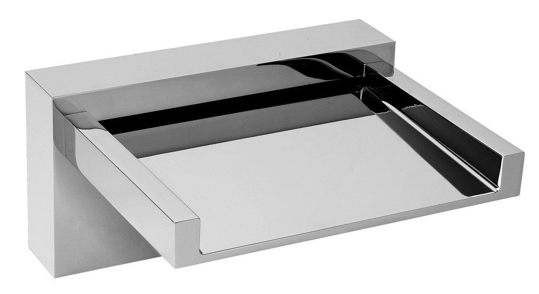 Výtoková hubice otevřená na okraj vany, šířka 145 mm, kaskáda, chrom