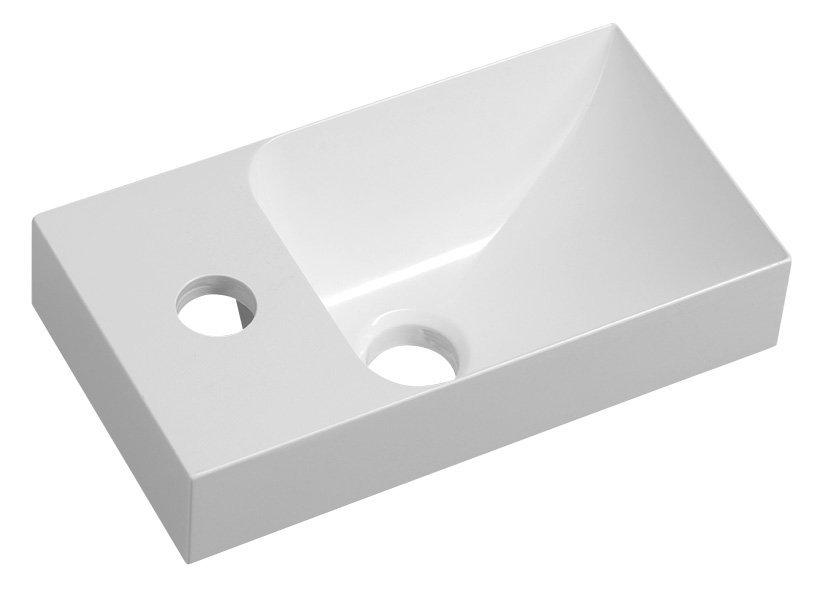 PICCOLINO umývátko 30,5x10x17cm, litý mramor, baterie vlevo, bílá