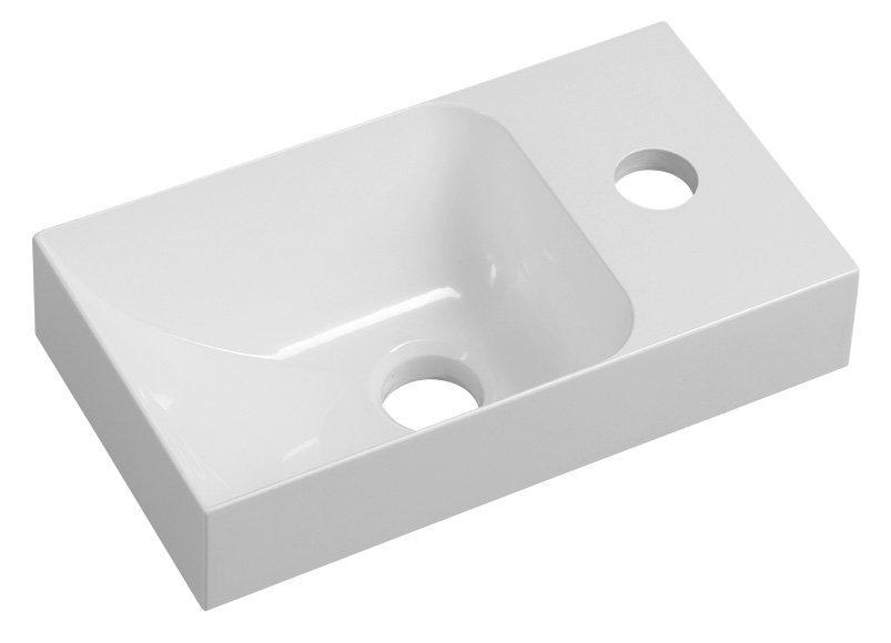 PICCOLINO umývátko 30,5x10x17cm, litý mramor, baterie vpravo, bílá