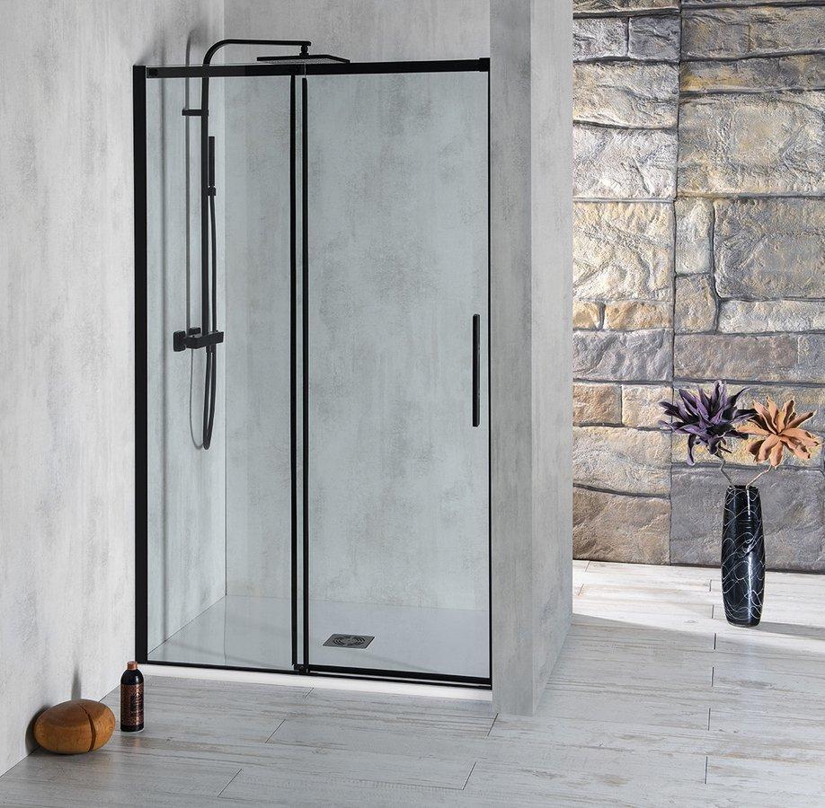 ALTIS LINE BLACK posuvné dveře 1570-1610mm, výška 2000mm, sklo 8mm