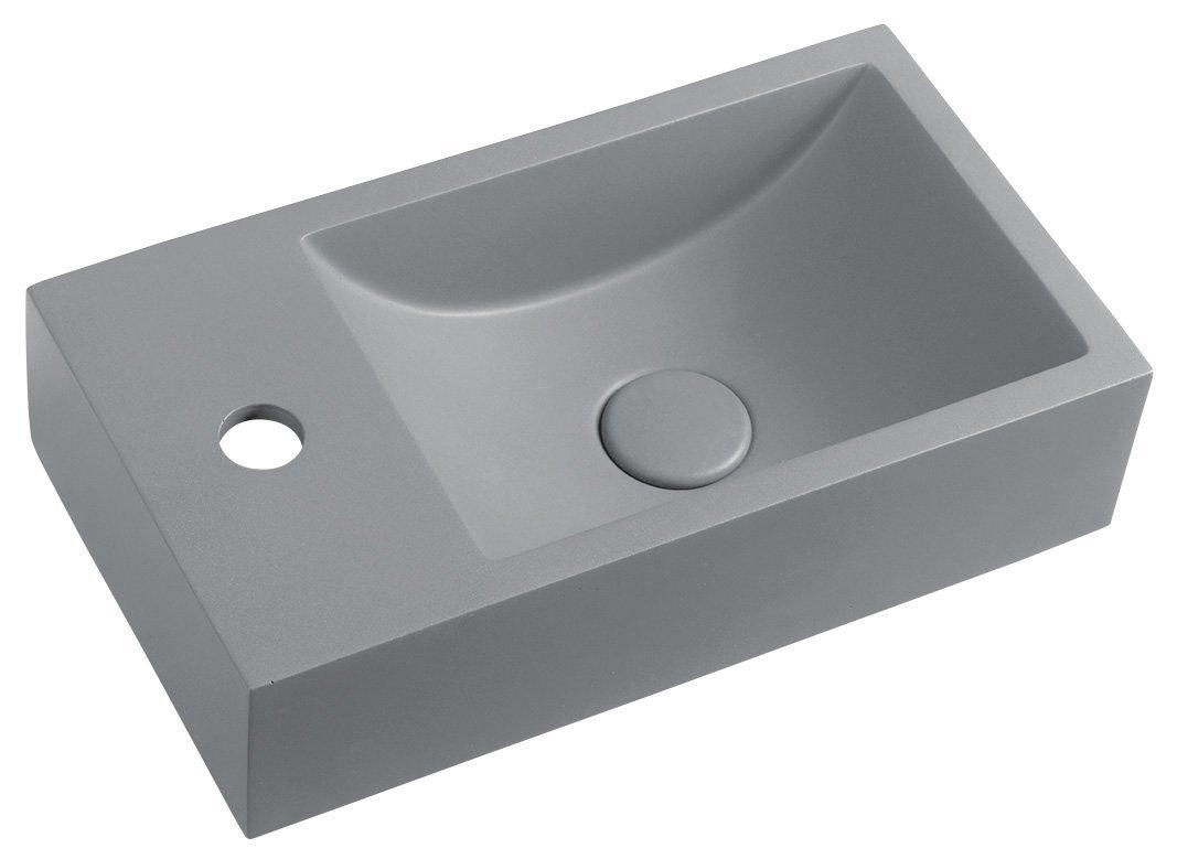 CREST L betonové umyvadlo včetně výpusti, 40x22 cm, šedá