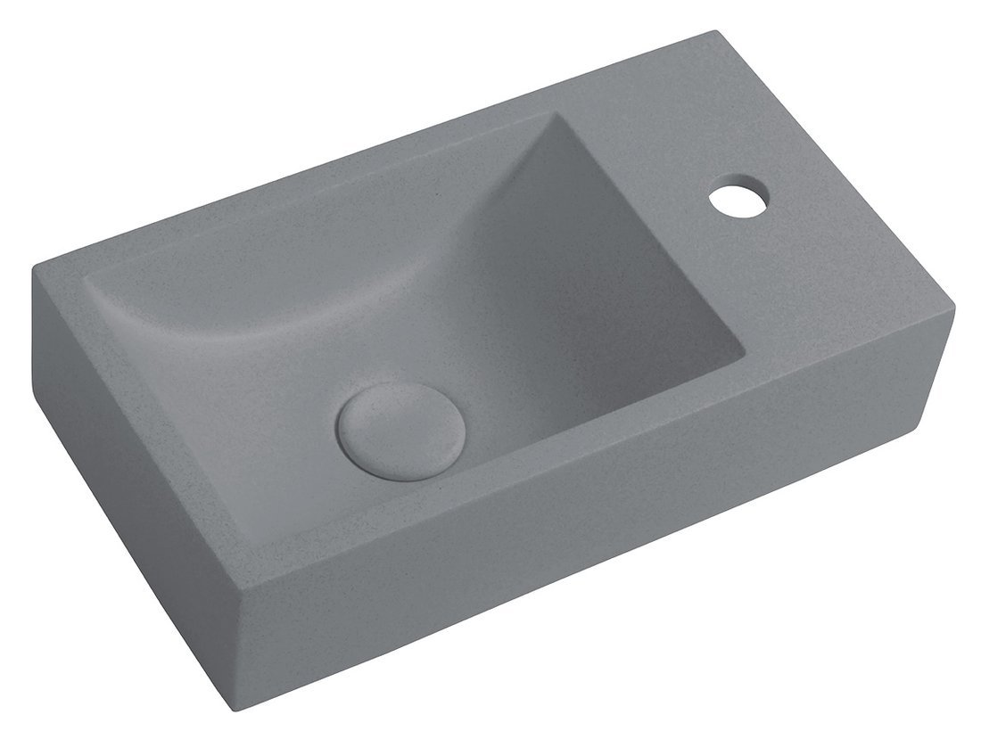 CREST R betonové umyvadlo včetně výpusti, 40x22 cm, šedá