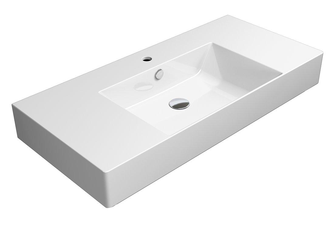 KUBE X umyvadlo 100x47 cm, s odkladnými plochami, bílá ExtraGlaze