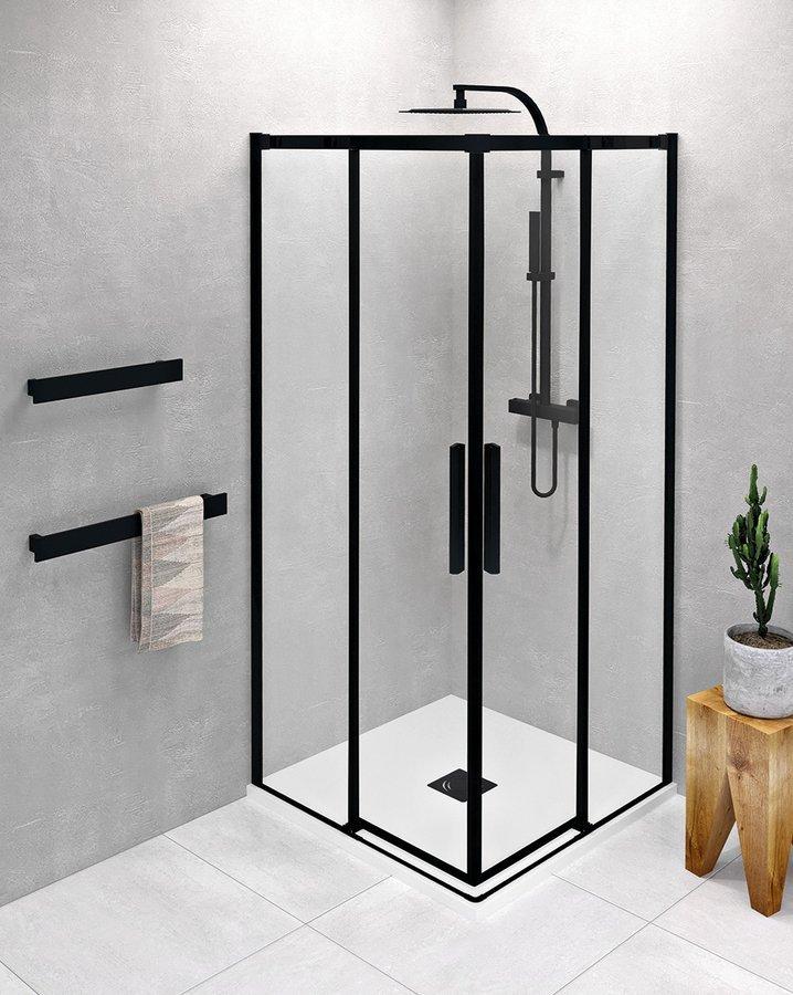 ALTIS LINE BLACK čtvercový sprchový kout 1000x1000 mm, rohový vstup, čiré sklo