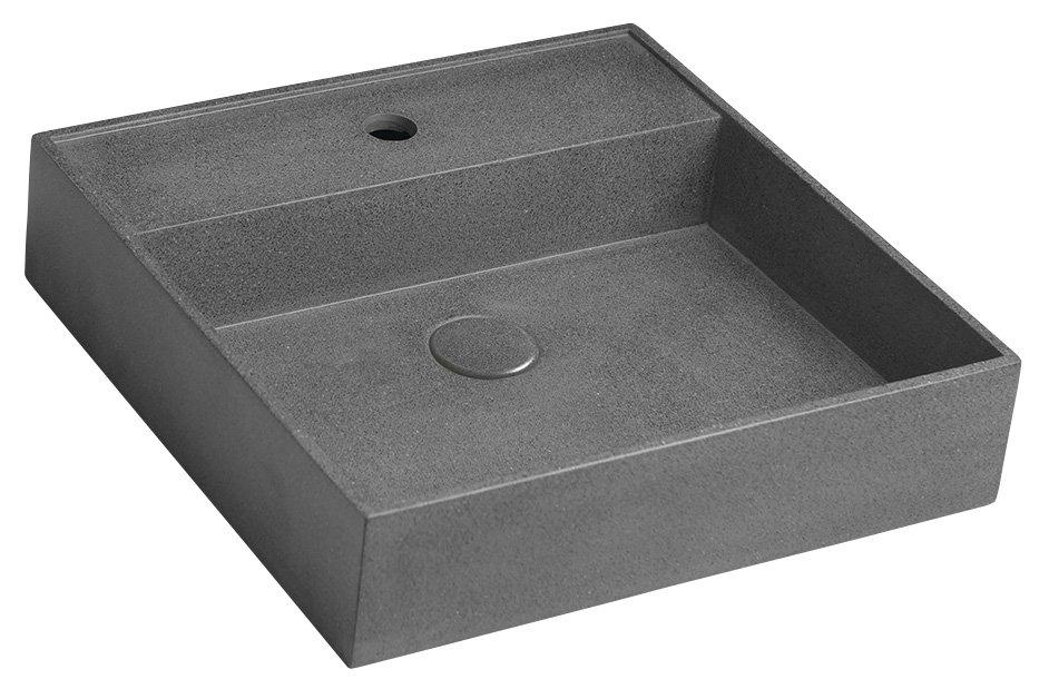 QUADRADO betonové umyvadlo včetně výpusti, 46x46 cm, černý granit