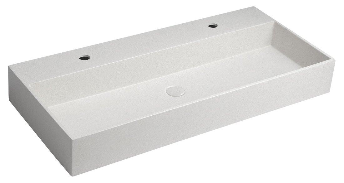 QUADRADO betonové umyvadlo včetně výpusti, 96x44 cm, 2 otvory, bílý pískovec