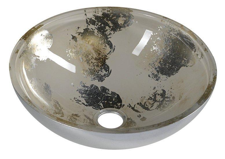 MURANO ANIMA 2 skleněné umyvadlo kulaté 40x14 cm, stříbrná/béžová